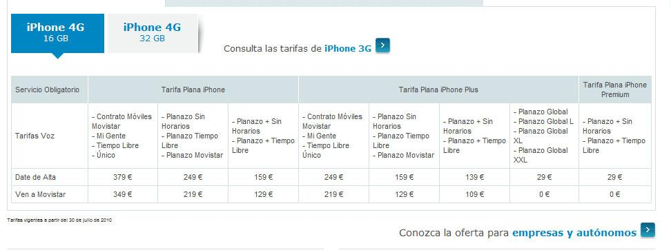 iphone 4 movistar tarifas 16 gb