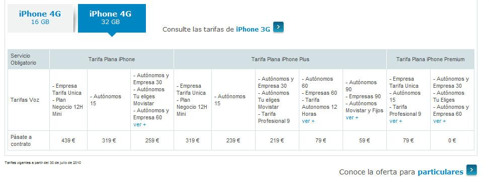 iphone 4 movistar tarifas 32 gb CONTRATO