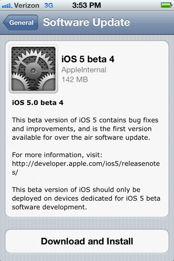 Apple iOS 5 Beta 4 Actualización OTA