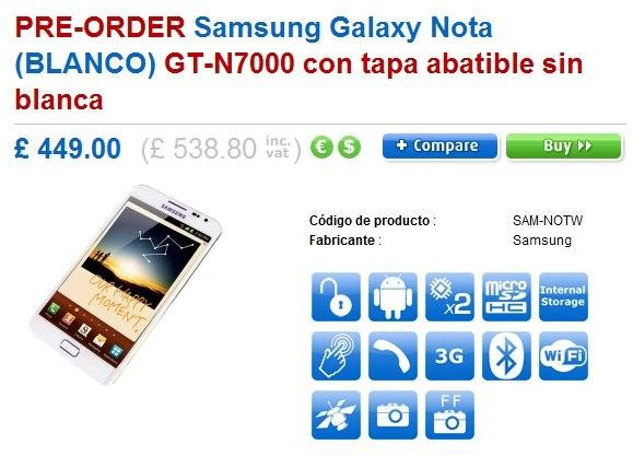 Glaxy Note en blanco disponible en Clove