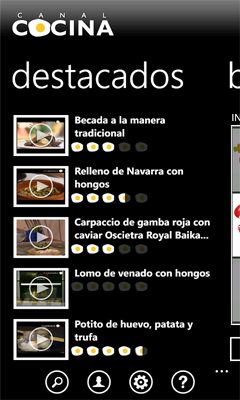 captura de aplicación windows phone canal cocina