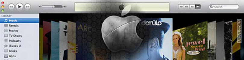 iTUNES CON LOGOTIPO DE APPLE DE FONDO