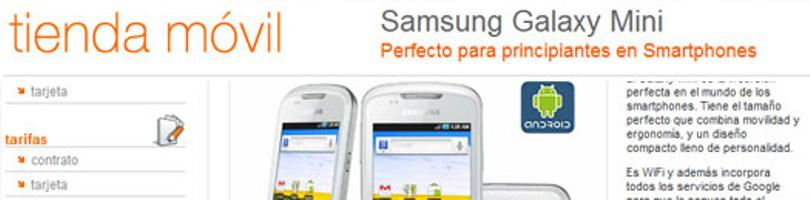 Captura de pantalla de la web de orange donde se vende el Galaxy Mini