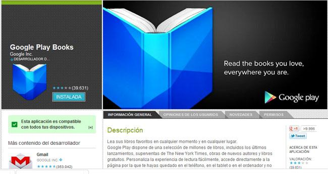 Captura de pantalla de Google Play Books