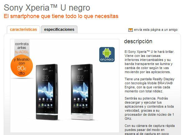 Sony Xperia U con Orange desde 0 euros
