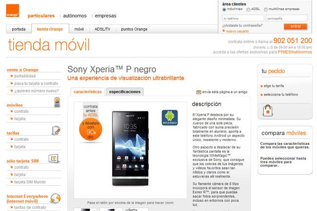 Disponibilidad del Sony Xperia P en orange