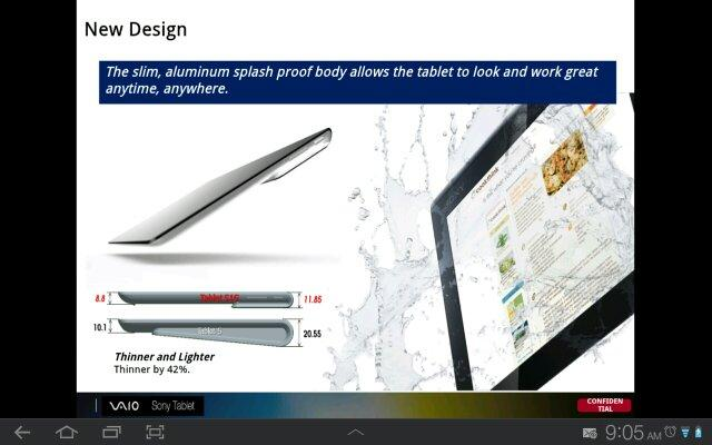 Dimensiones del Xperia Tablet