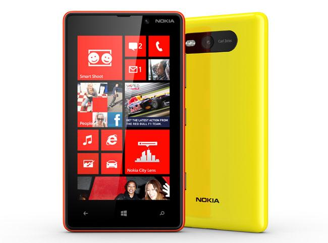 Nokia Lumia 820 de color rojo y amarillo