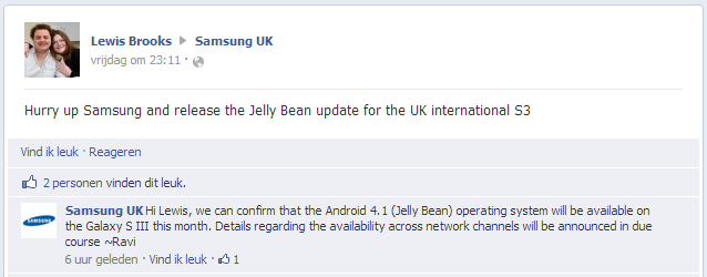 Anuncio de Samsung UK en Facebook