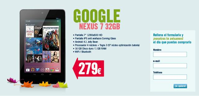 Google Nexus 7 en Phone House