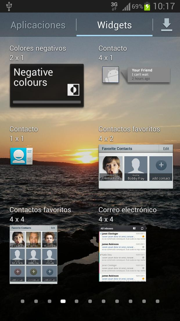 Widgets en el Galaxy™ S3