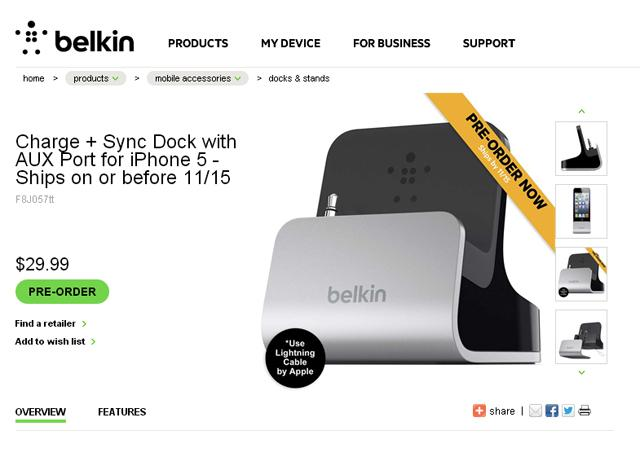 Nueva base de Belkin para iPhone 5