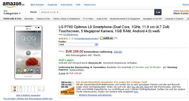 LG Oprimus L9 en color blanco en Amazon Alemania