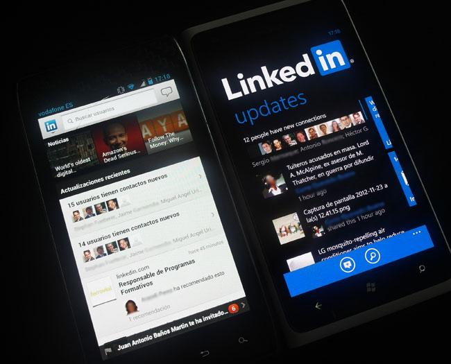 Pantalla de linkedin en Android y en Windows Phone
