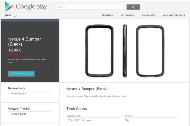 Bumper case para Nexus 4 en Google Play