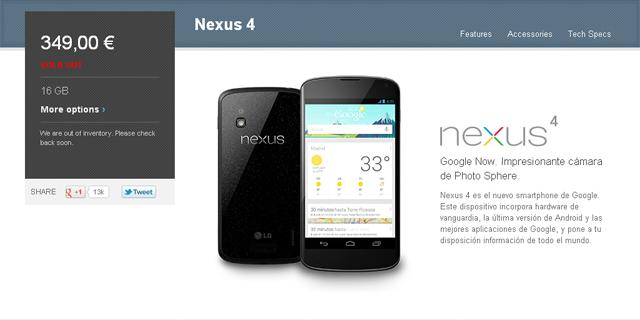 Ventas del Nexus 4 en Google Play