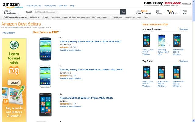 Nokia Lumia 920 en Amazon USA