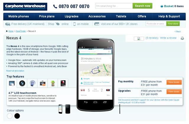 Opción en blanco para el Nexus 4 en Carphone Warehouse