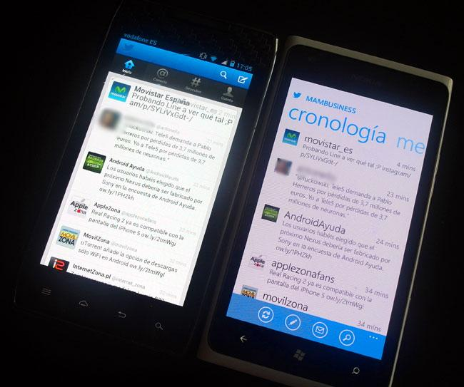 Pantalla de twitter en Android y en Windows Phone