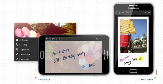 Nuevas opciones Photo Note y Photo Frame en Samsung Galaxy Note