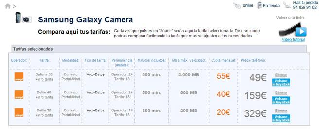 Tarifas y precios Galaxy Camera con Orange