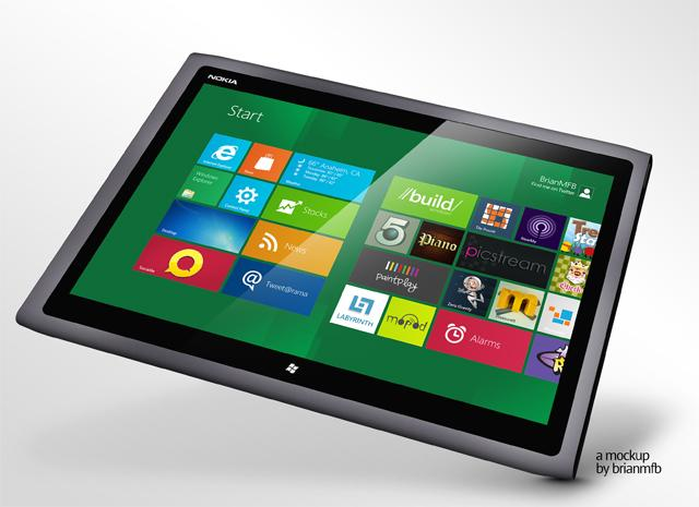 Maqueta de una Nokia Tablet con Windows RT