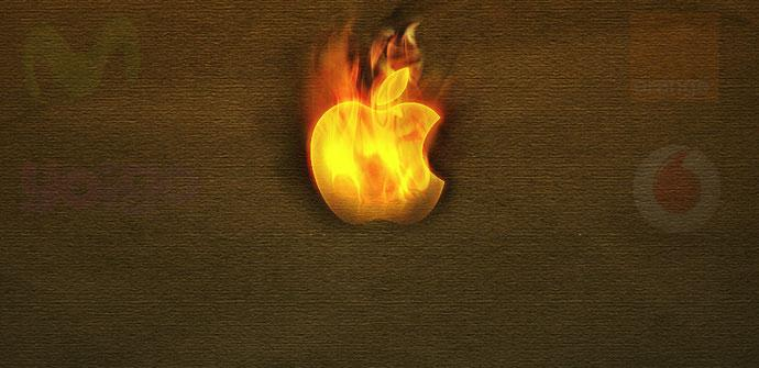 Logo de Apple con fuego