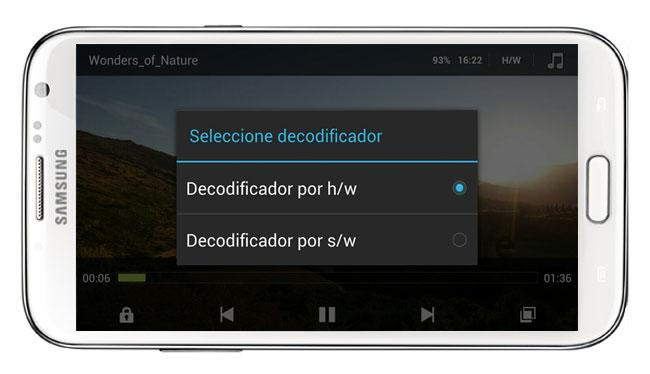 Decodificación hardware/software en MX Player