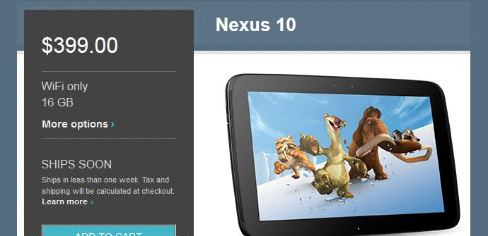 Nexus 10 en Google Play