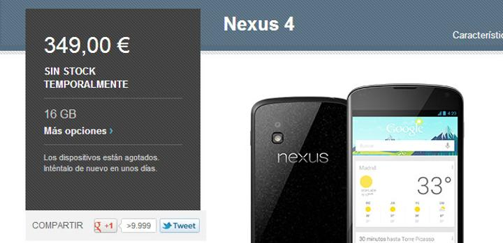 Nexus 4 en Google Play