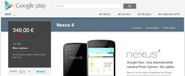 Sin Nexus 4 en la Google Play