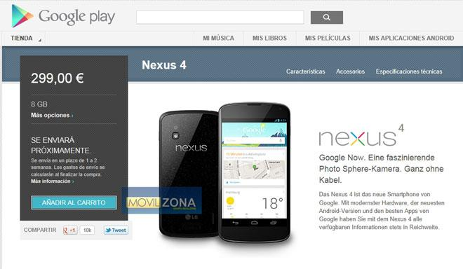 Nexus 4 8 GB disponible en Alemania