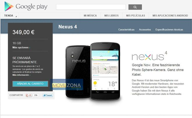 Nexus 4 16 GB disponible en Alemania