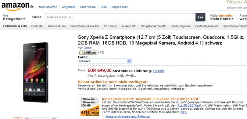 Sony Xperia Z en Amazon