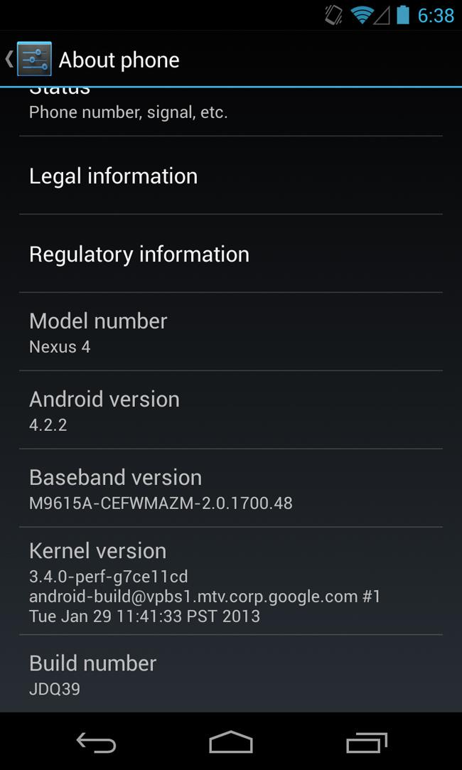 Actualización del Nexus 4 a Android 4.2.2 Jelly Bean