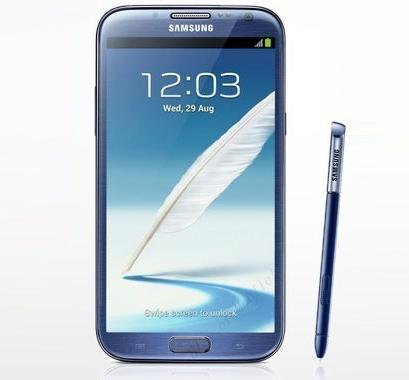 Samsung Galaxy Note 2 en azul topacio