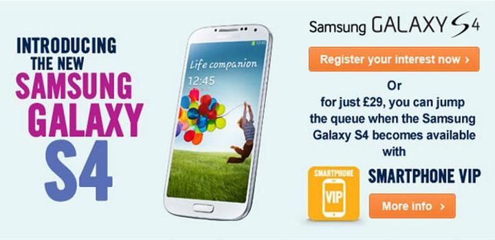 Samsung Galaxy S4 en Carphone Warehouse
