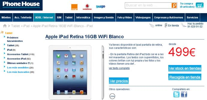 Los iPad de 16 GB en The Phone House