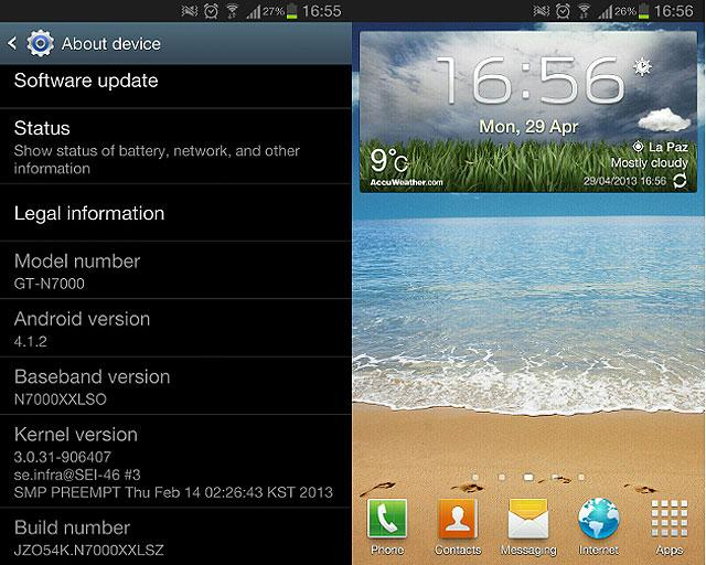 Actualización Samsung Galaxy Note N7000 a Jelly Bean