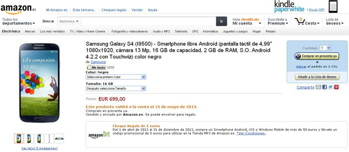El Samsung Galaxy S4 en Amazon por 699 euros