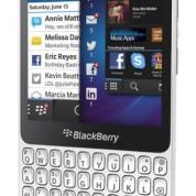 BlackBerry Q5 blanco vista lateral