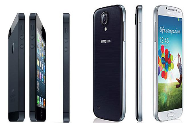 Grosor de iPhone 5 y Samsung Galaxy S4