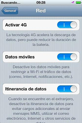 Ajustes LTE en iPhone 5