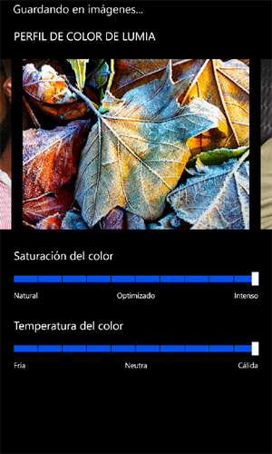 Nokia Lumia 925 ajustes de temperatura de color