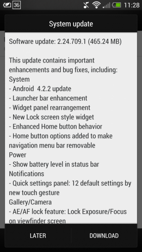 Notificación de OTA en HTC One