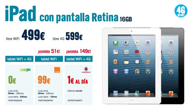 iPad 4 y iPad mini con Yoigo y Vodafone en The Phone House.