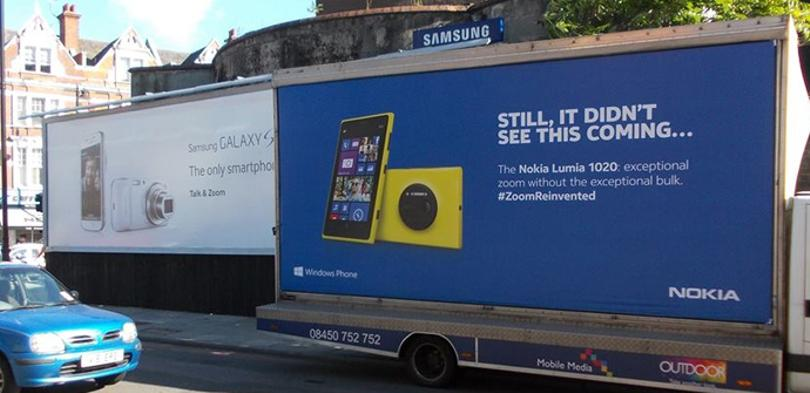 Nokia critica al Galaxy S4 Zoom en su nueva campaña de marketing en UK.