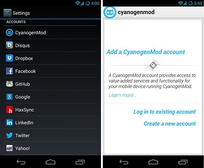Captura de CyanogenMod Account
