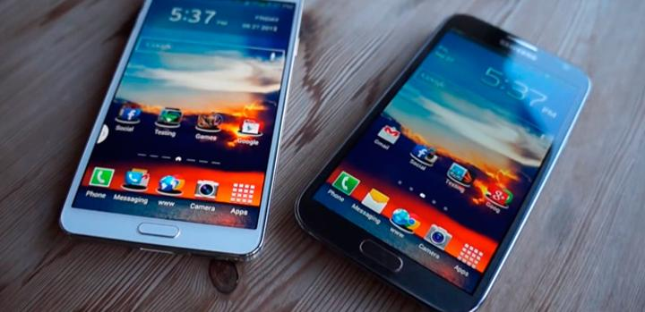 Comparativa entre el Galaxy Note 3 y el Galaxy Note II.