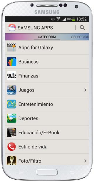 Listado Apps Samsung Apps